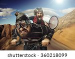 two nerdy guys riding on a bike | Shutterstock . vector #360218099