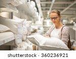 pretty  young woman choosing... | Shutterstock . vector #360236921