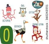 cute zoo alphabet in vector. o... | Shutterstock .eps vector #360243551