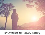 silhouette of woman standing on ... | Shutterstock . vector #360243899