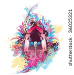 dancers with funky background   Shutterstock .eps vector #36025321