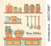home kitchen hand drawn with... | Shutterstock .eps vector #360273887