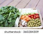 fresh vegetable salad in wooden ...