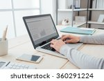 businesswoman sitting at office ... | Shutterstock . vector #360291224