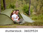 a man and woman using a... | Shutterstock . vector #36029524