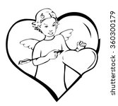 contour girl angel with arrow... | Shutterstock .eps vector #360300179