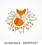 Stock vector fox sleeping on the flowers lovely illustration and card 360305267