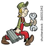 handyman cartoon holding wrench ... | Shutterstock . vector #36031342