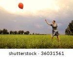 pretty girl playing with red...   Shutterstock . vector #36031561