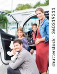 family buying car  mother ... | Shutterstock . vector #360319211
