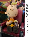 Small photo of Bangkok, Thailand - 10 January, 2016: Real Size Model of Charlie Brown with Popcorn Display to promote Snoopy and Charlie Brown: The Peanuts Movie at Central Festival East Ville Shopping Center.