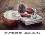 shaving accessories on wooden... | Shutterstock . vector #360330761
