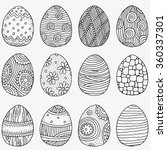 Set Of Easter Eggs. Hand Drawn...