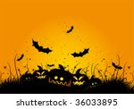 halloween black and orange... | Shutterstock .eps vector #36033895