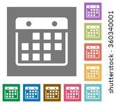 hanging calendar flat icon set...