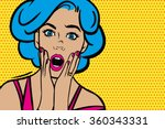 pop art surprised woman face...