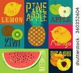Pop Art Grunge Style Fruit...
