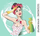 pin up housewife woman portrait ...   Shutterstock .eps vector #360365231