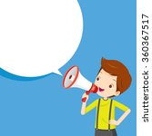 boy with megaphone announcement ... | Shutterstock .eps vector #360367517