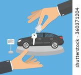 dealership agent giving car key ... | Shutterstock .eps vector #360371204