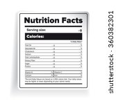nutrition facts label vector | Shutterstock .eps vector #360382301