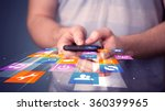 man holding smart phone with... | Shutterstock . vector #360399965