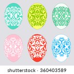 set of multicolored easter eggs ...