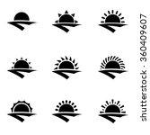 vector black sunrise icon set. | Shutterstock .eps vector #360409607
