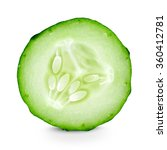 cucumber slice closeup on white ... | Shutterstock . vector #360412781