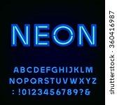 neon alphabet font. blue light...   Shutterstock .eps vector #360416987