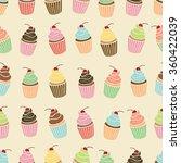 cupcake seamless pattern.... | Shutterstock .eps vector #360422039