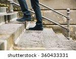 Close Up Of Man's Shoes Walkin...