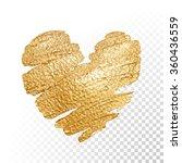 Vector gold paint heart on transparent background. Love concept design. | Shutterstock vector #360436559