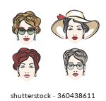 set of four woman heads with a... | Shutterstock . vector #360438611