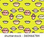 lips seamless pattern yellow | Shutterstock .eps vector #360466784