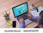 man working on laptop with... | Shutterstock . vector #360494099