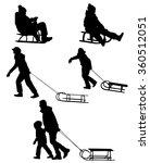 sledding silhouettes  | Shutterstock .eps vector #360512051