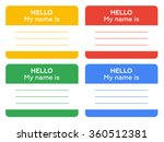 hello my name is sign with... | Shutterstock .eps vector #360512381