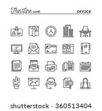 office things  thin line icons... | Shutterstock .eps vector #360513404