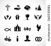 catholic church icon set vector
