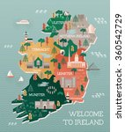 travel map of ireland with... | Shutterstock .eps vector #360542729