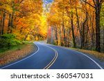 Curvy Roadway And Fall Foliage...