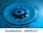closeup of a water splash in blue tones - stock photo