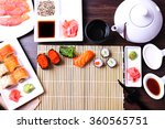 served table for sushi party ... | Shutterstock . vector #360565751