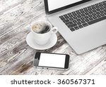 laptop smartphone and coffee... | Shutterstock . vector #360567371