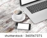 laptop smartphone and coffee... | Shutterstock . vector #360567371