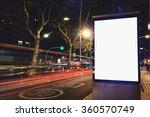 illuminated blank billboard... | Shutterstock . vector #360570749