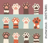 Cats Paw Icon Set  Isolated On...