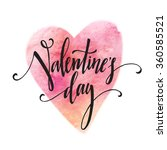 Handwritten Valentines Day calligraphy on red grungy watercolor stain background.  Vector illustration EPS10 | Shutterstock vector #360585521