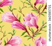 watercolor summer blooming pink ... | Shutterstock . vector #360585731